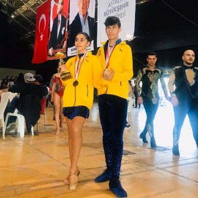 Erkan koleji 8.sınıf öğrencimiz Asya Naz EŞİYOK ve partneri Erkan teknoloji koleji 10.sınıf öğrencimiz Eyüp Yiğit YALÇIN TDSF Sportif Salsa Şampiyonasında eşli kategoride 1.olmuşlardır.