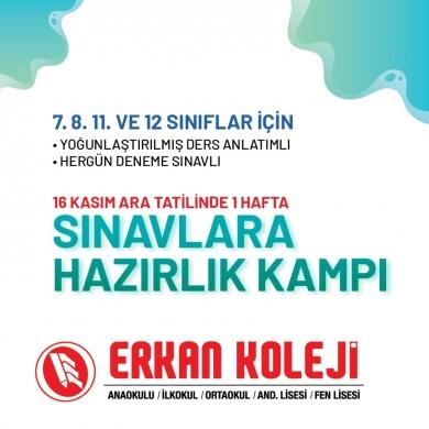 Erkan Koleji'nden yine bir ilk.16 Kasım ara tatilinde sınavlara hazırlık kampı