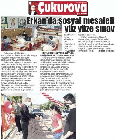 Erkan Kolejinde sosyal mesafeli yüz yüze Bursluluk Sınavı